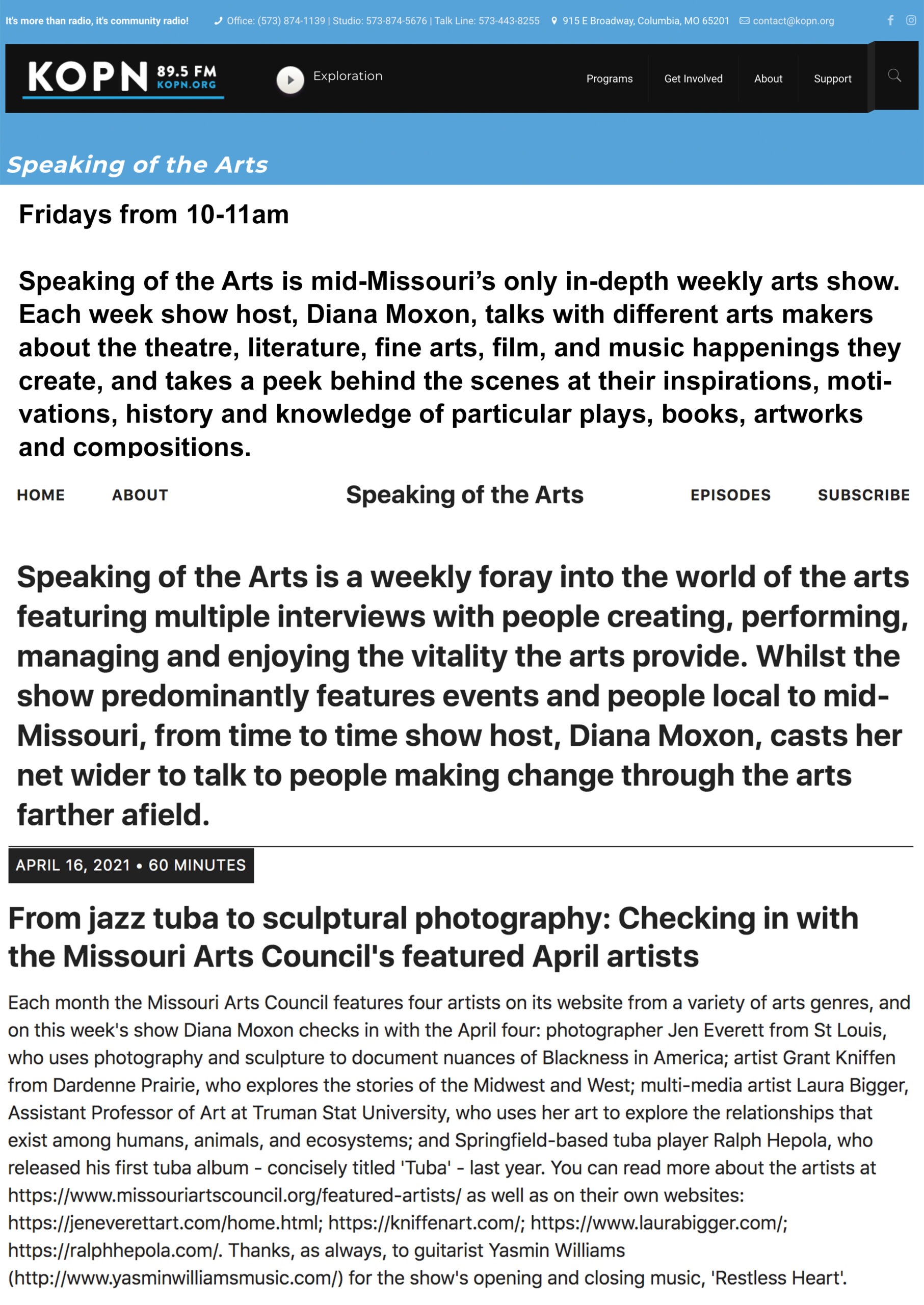 Speaking of the Arts interview with Ralph Hepola